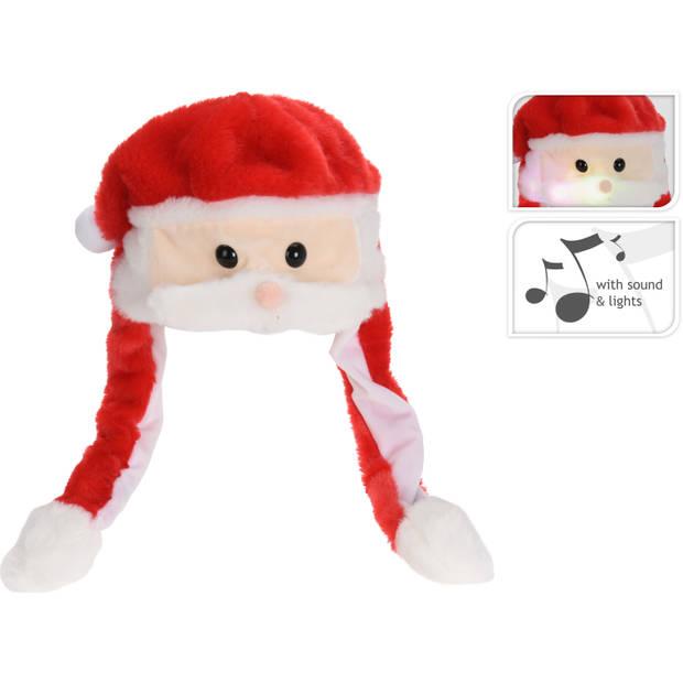 Pluche kerstmannen mutsen/kerstmutsen met muziek/geluid 60 cm - Kersthoeden/kerstmutsen
