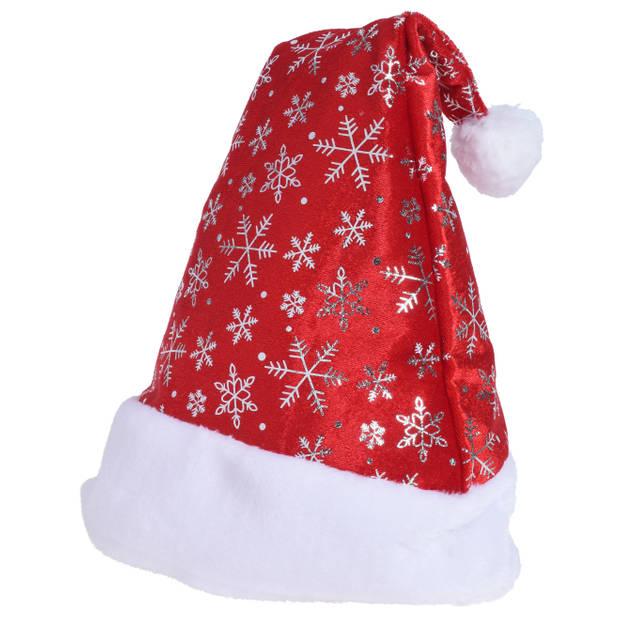 1x Rode kerstmutsen met sneeuwvlokken voor volwassenen - Kerstaccessoires kerstmutsen