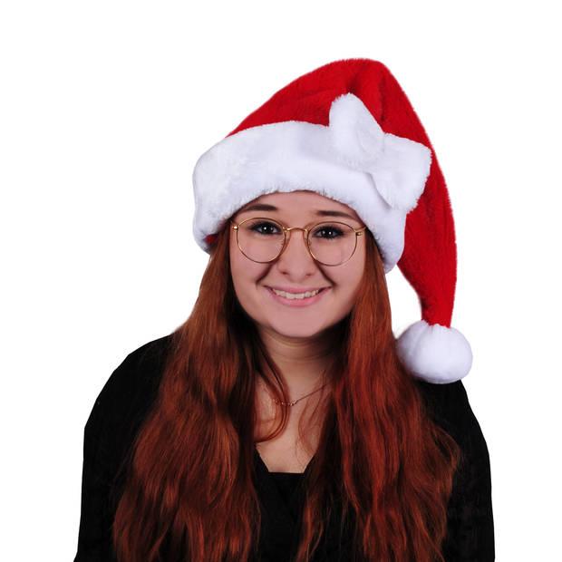 Rode pluche dames kerstmutsen met strikje - Kerstaccessoires/kerst verkleedaccessoires - voor vrouwen