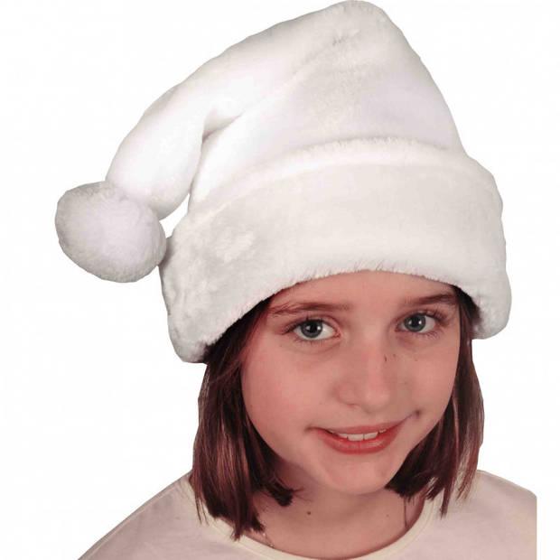 Witte pluche kerstmutsen voor kinderen - Kerstaccessoires/kerst verkleedaccessoires - voor jongens en meisjes
