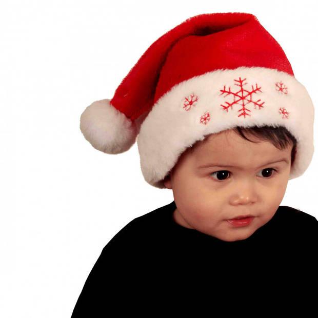 Rode baby kerstmutsen met sneeuwvlokken - Kerstmutsen - Rode polyester kerstmutsen