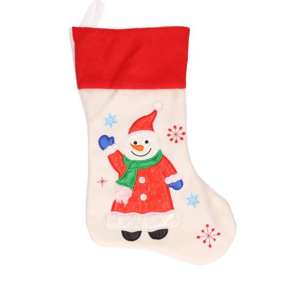 Witte kerstsokken met sneeuwpoppen print 48 cm - Kerstversiering/kerstdecoratie