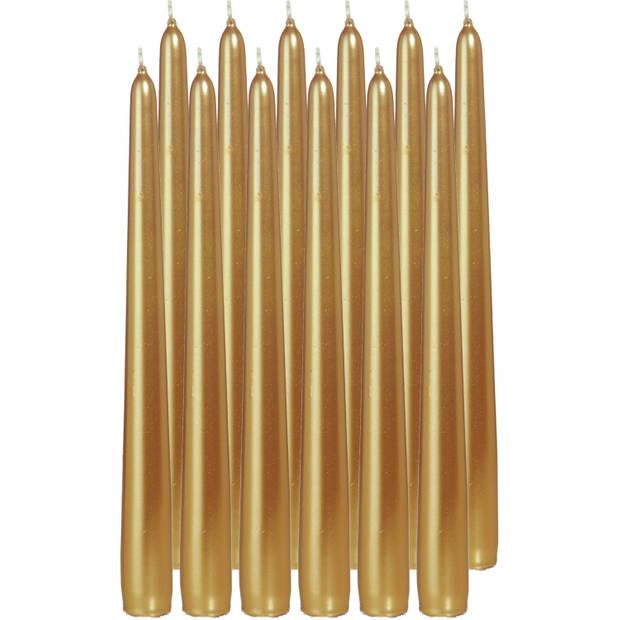12x Gouden dinerkaarsen 25 cm 8 branduren - Geurloze kaarsen - Tafelkaarsen/kandelaarkaarsen