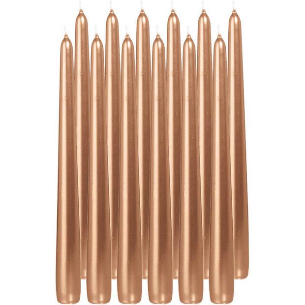 12x Rosegouden dinerkaarsen 25 cm 8 branduren - Geurloze kaarsen - Tafelkaarsen/kandelaarkaarsen