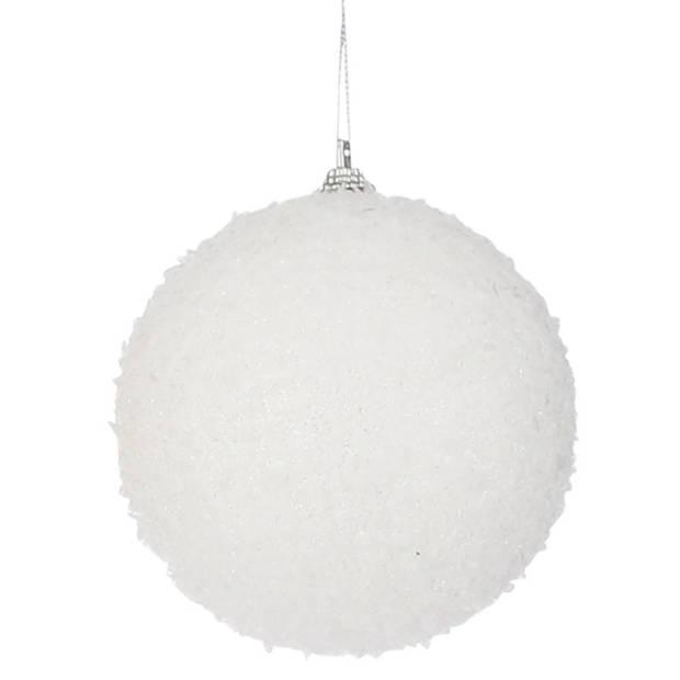 6x Grote witte foam kerstballen 10 cm - Kerstboomversiering - kerstversiering/kerstdecoratie