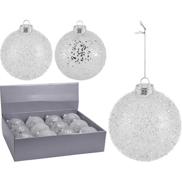 6x Zilveren glitter kerstballen kunststof 10 cm type 2 - Kerstboomversiering zilver