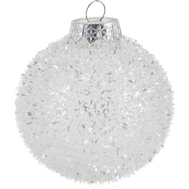 6x Zilveren glitter kerstballen kunststof 8 cm type 2 - Kerstboomversiering zilver