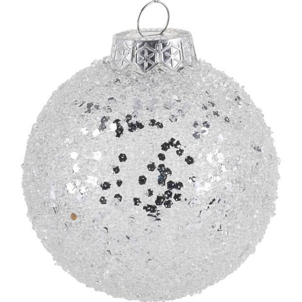6x Zilveren glitter kerstballen kunststof 8 cm type 1 - Kerstboomversiering zilver
