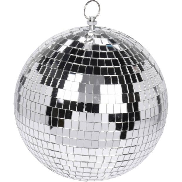 2x Grote zilveren disco kerstballen discoballen/discobollen glas/foam 18 cm - Discoballen kerstballen - kerstversiering