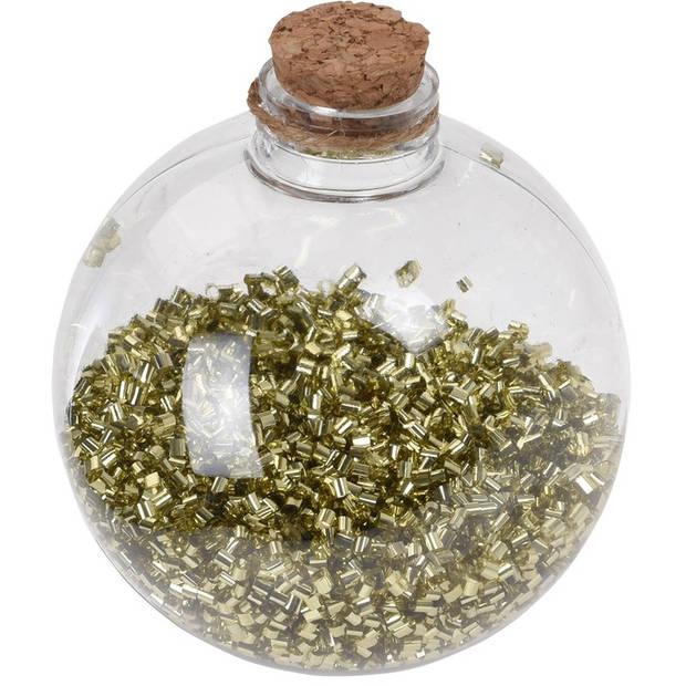 6x Transparante fles kerstballen met gouden glitters 8 cm - Onbreekbare kerstballen - Kerstboomversiering goud