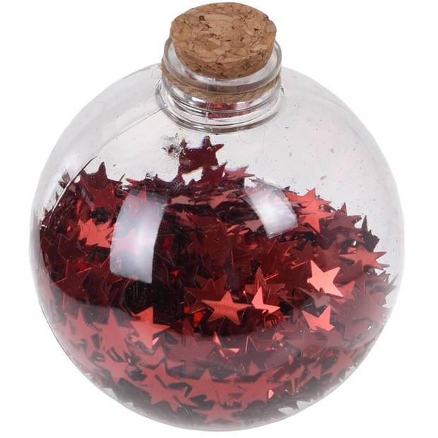 6x Transparante fles kerstballen met rode sterren 8 cm - Onbreekbare kerstballen - Kerstboomversiering rood
