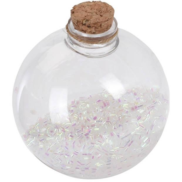 6x Transparante fles kerstballen met witte glitters 8 cm - Onbreekbare kerstballen - Kerstboomversiering wit