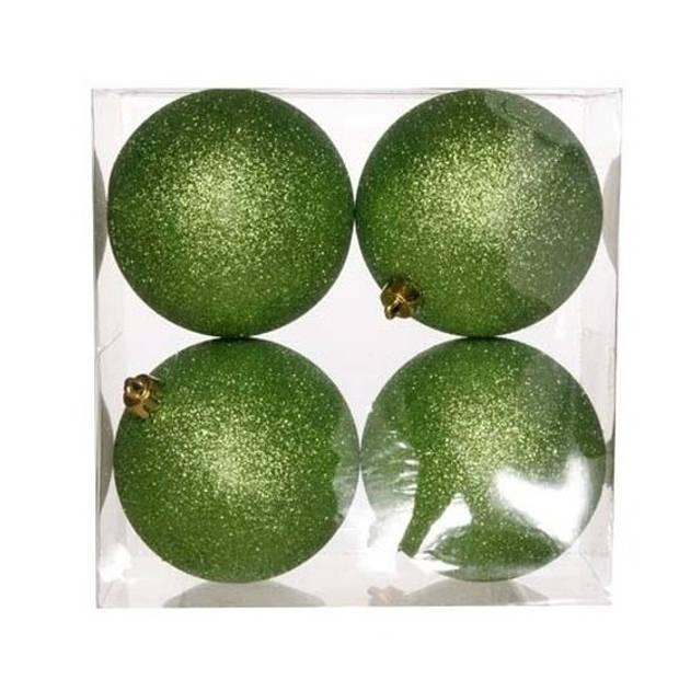 12x Appelgroene kunststof kerstballen 10 cm - Glitter - Onbreekbare plastic kerstballen - Kerstboomversiering appelgroen
