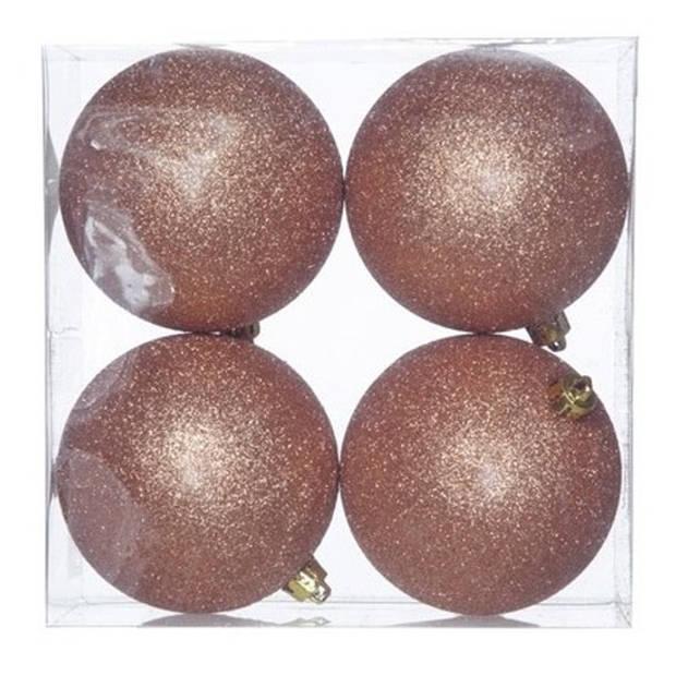 12x Koperen kunststof kerstballen 10 cm - Glitter - Onbreekbare plastic kerstballen - Kerstboomversiering koper