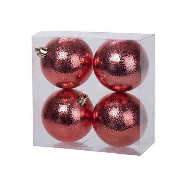 12x Rode kunststof kerstballen 8 cm - Cirkel motief - Onbreekbare plastic kerstballen - Kerstboomversiering rood