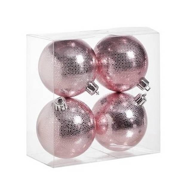 12x Roze kunststof kerstballen 8 cm - Cirkel motief - Onbreekbare plastic kerstballen - Kerstboomversiering roze