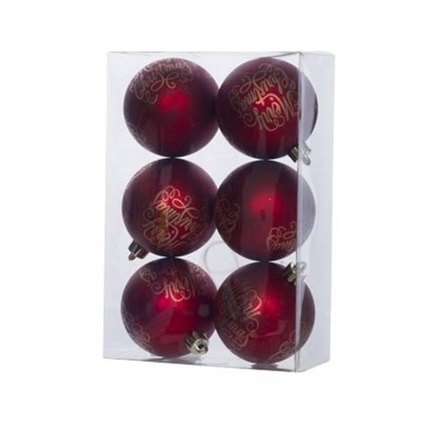 12x Rode kunststof kerstballen 6 cm - Tekst - Onbreekbare plastic kerstballen - Kerstboomversiering rood