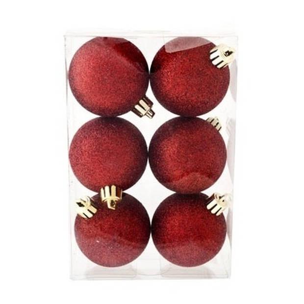 12x Donkerrode kunststof kerstballen 6 cm - Glitter - Onbreekbare plastic kerstballen - Kerstboomversiering donkerrood