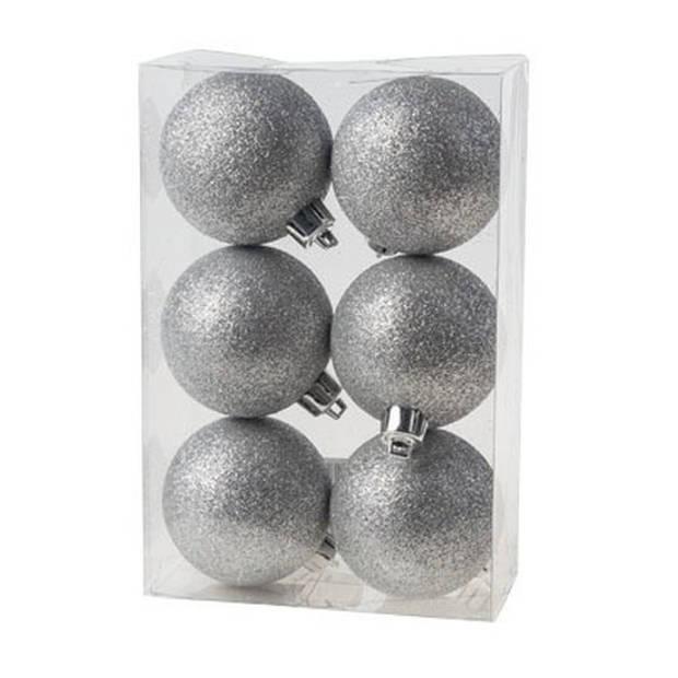 12x Zilveren kunststof kerstballen 6 cm - Glitter - Onbreekbare plastic kerstballen - Kerstboomversiering zilver