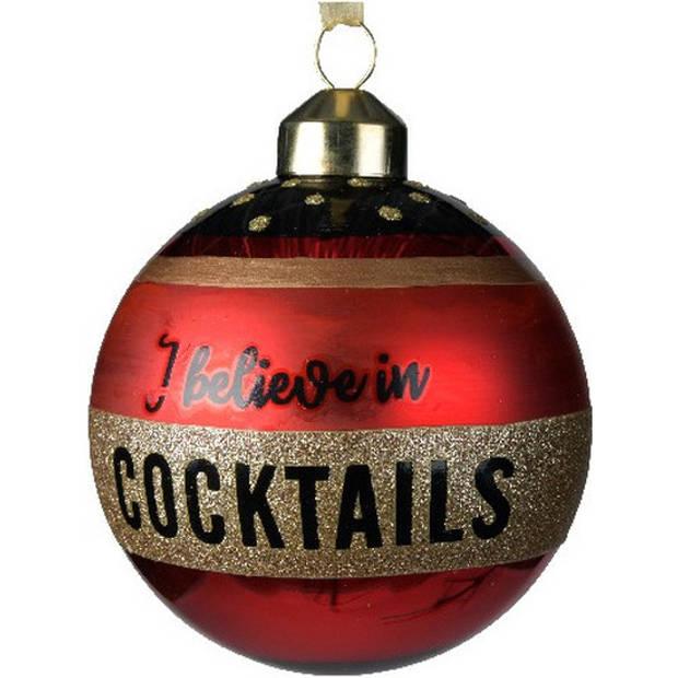 6x Rode glazen kerstballen I believe in cocktails 8 cm - Rode kerstballen kerstversiering van glas