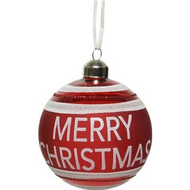 6x Rode glazen kerstballen Merry Christmas 8 cm - Rode kerstballen kerstversiering van glas
