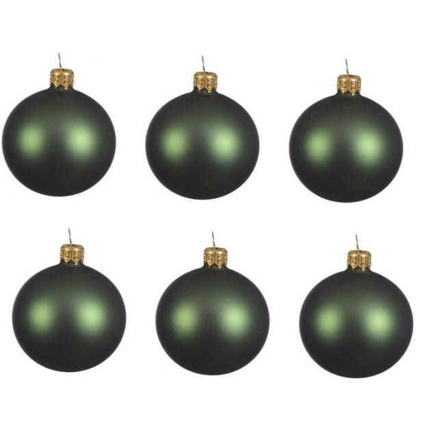 12x Donkergroene glazen kerstballen 8 cm - Mat/matte - Kerstboomversiering donkergroen