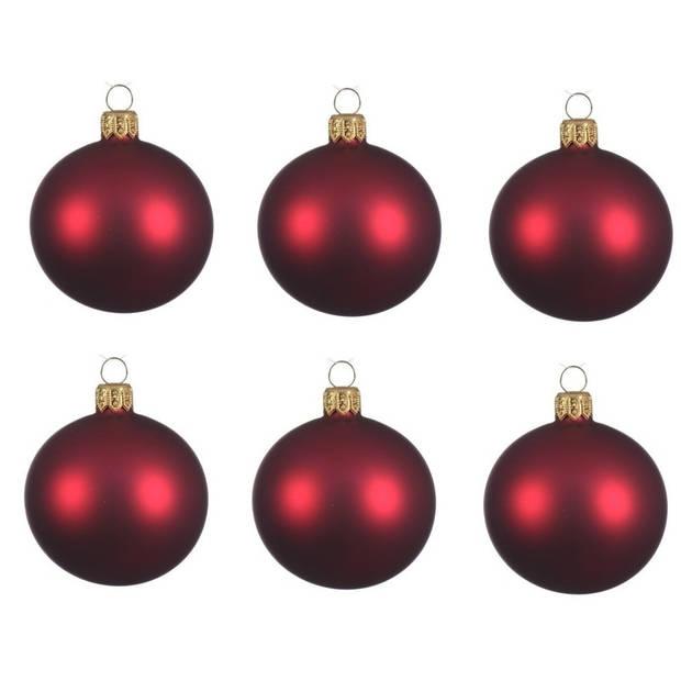 12x Donkerrode glazen kerstballen 8 cm - Mat/matte - Kerstboomversiering donkerrood