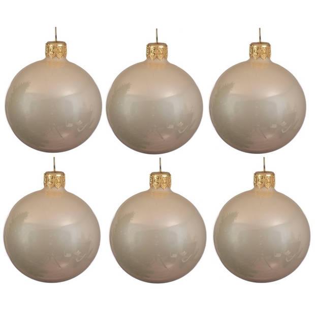 12x Licht parel/champagne glazen kerstballen 8 cm - Glans/glanzende - Kerstboomversiering licht parel/champagne