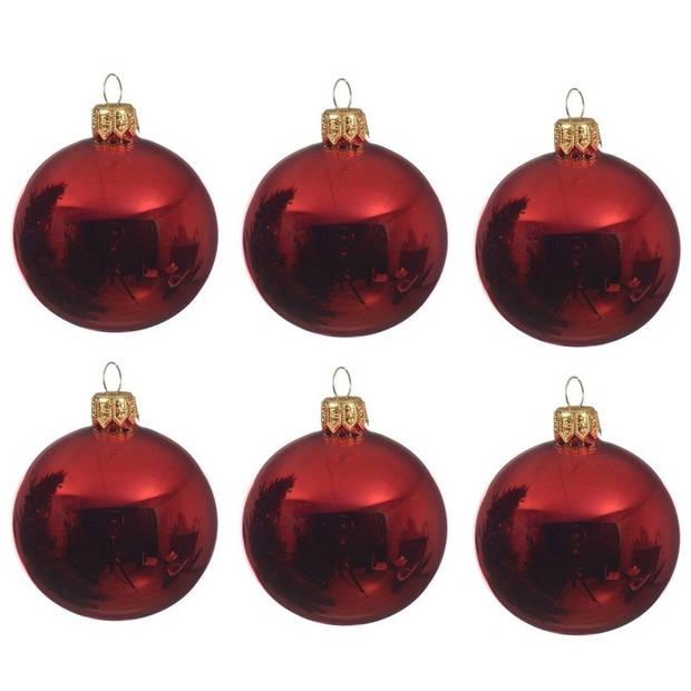 12x Kerst rode glazen kerstballen 8 cm - Glans/glanzende - Kerstboomversiering kerst rood