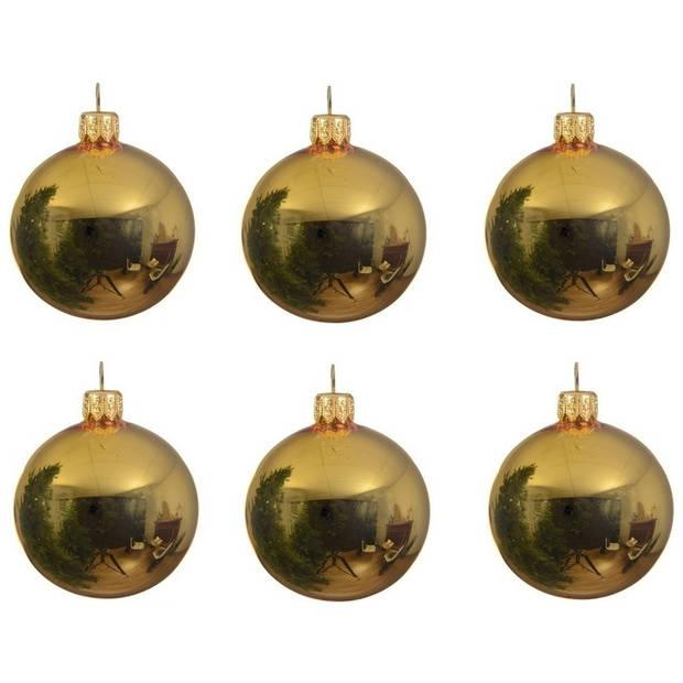 12x Gouden glazen kerstballen 8 cm - Glans/glanzende - Kerstboomversiering goud