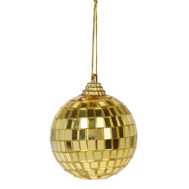 12x Gouden disco kerstballen discoballen/discobollen foam/glas 6 cm - Discoballen kerstballen - kerstversiering