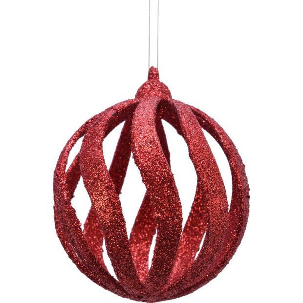 12x Open kerstballen rood met glitters 8 cm kunststof - Kerstboomversiering rood