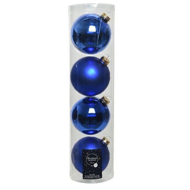12x Kobalt blauwe glazen kerstballen 10 cm - Mat/matte - Kerstboomversiering kobalt blauw