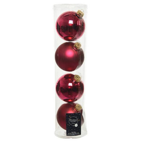 12x Bessen roze glazen kerstballen 10 cm - Mat/matte - Kerstboomversiering bessen roze
