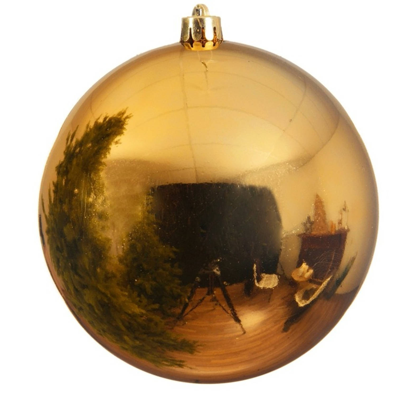Kerstbal plastic glans licht goud 140 mm