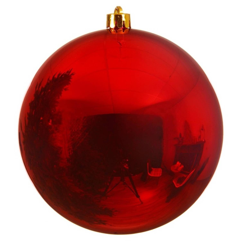 Kerstbal plastic glans kerstrood 140 mm