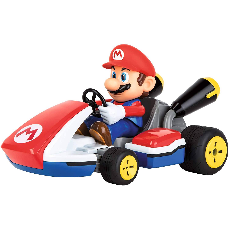 Carrera auto RC Mario Kart 2,4 GHz 1:16 rood/blauw 5 delig