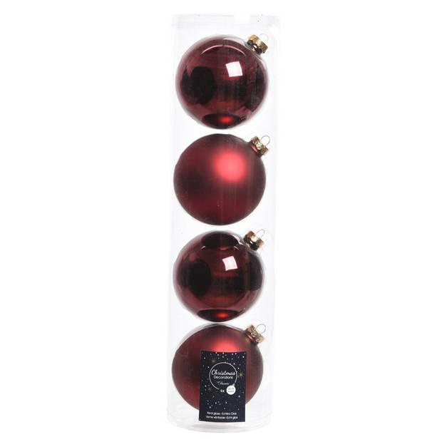 12x Donkerrode glazen kerstballen 10 cm - Mat/matte - Kerstboomversiering donkerrood