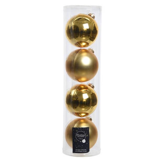 12x stuks Gouden glazen kerstballen 10 cm - Mat/matte - Kerstboomversiering goud