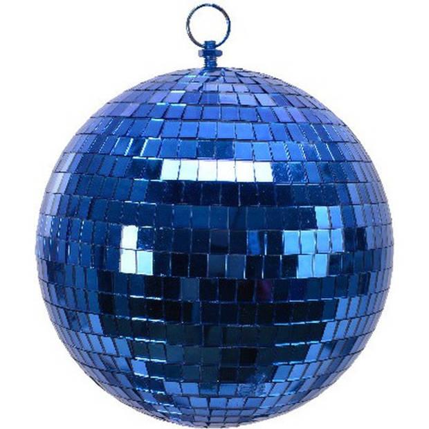 2x Blauwe disco kerstballen discoballen/discobollen foam 20 cm - Discoballen kerstballen blauw - kerstversiering