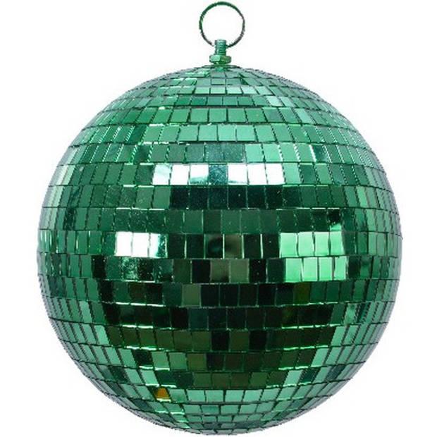 2x Groene disco kerstballen discoballen/discobollen foam 20 cm - Discoballen kerstballen groen - kerstversiering