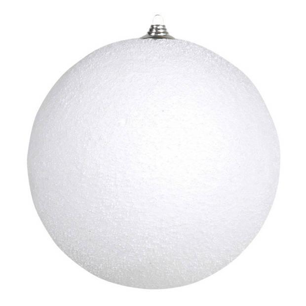2x stuks Grote witte sneeuwbal kerstballen 25 cm - hangdecoratie / boomversiering sneeuwballen