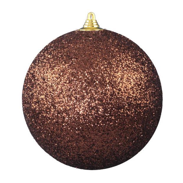 2x Bruine grote decoratie glitter kerstballen 25 cm - hangdecoratie / boomversiering glitter kerstballen