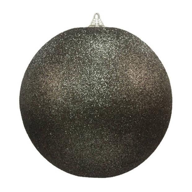 2x Zwarte grote decoratie glitter kerstballen 25 cm - hangdecoratie / boomversiering glitter kerstballen