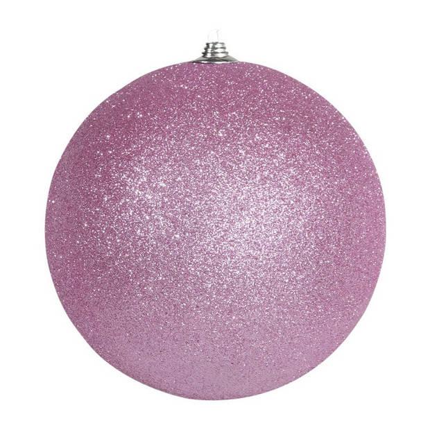 2x Roze grote decoratie glitter kerstballen 25 cm - hangdecoratie / boomversiering glitter kerstballen