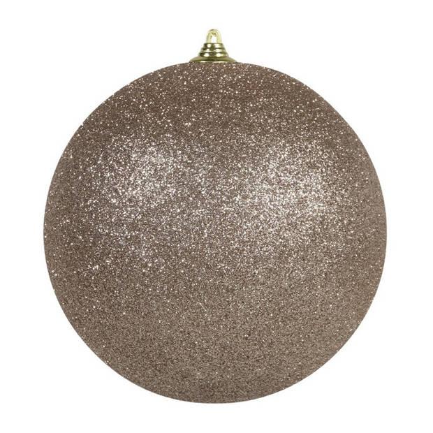 2x Champagne grote decoratie glitter kerstballen 25 cm - hangdecoratie / boomversiering glitter kerstballen