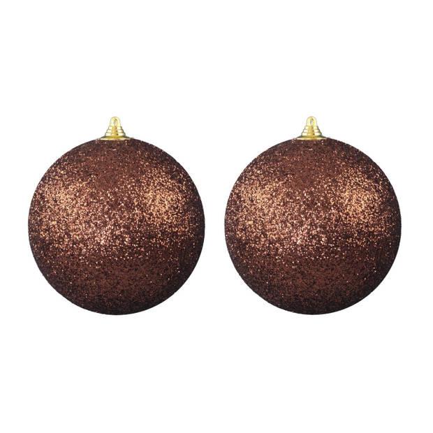 2x stuks Bruine grote glitter kerstballen 18 cm - hangdecoratie / boomversiering glitter kerstballen