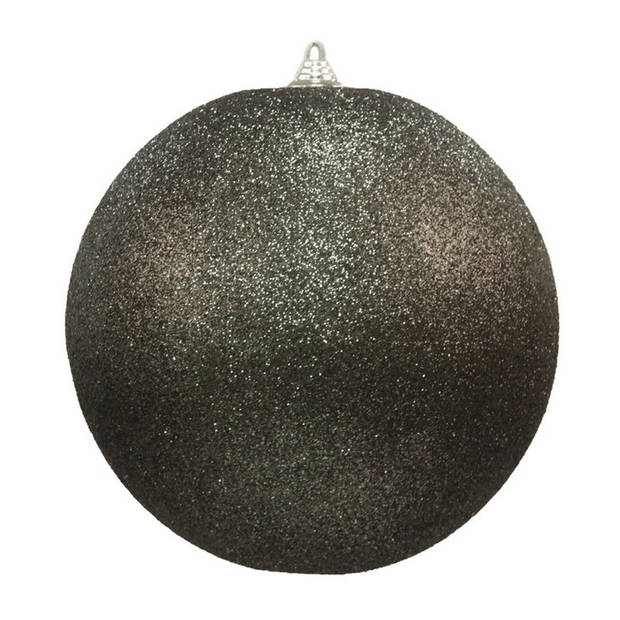 2x stuks Zwarte grote glitter kerstballen 18 cm - hangdecoratie / boomversiering glitter kerstballen
