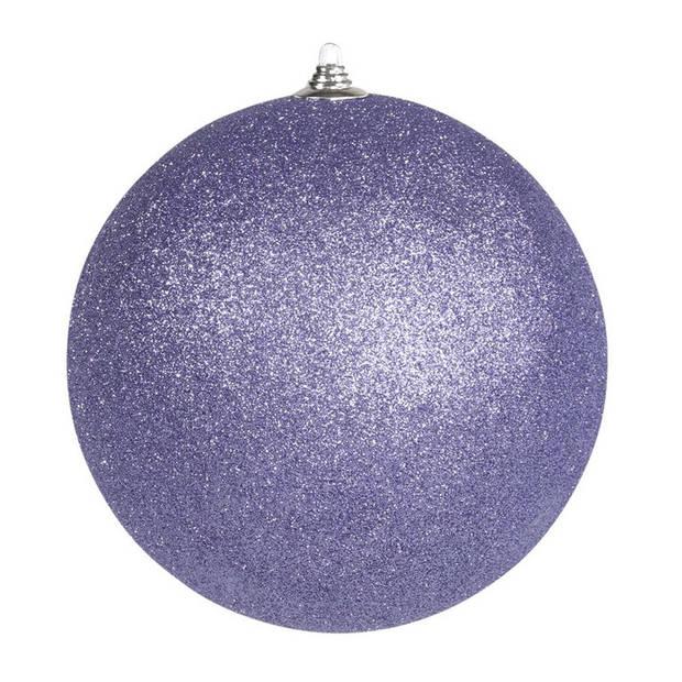 2x stuks Paarse grote glitter kerstballen 18 cm - hangdecoratie / boomversiering glitter kerstballen
