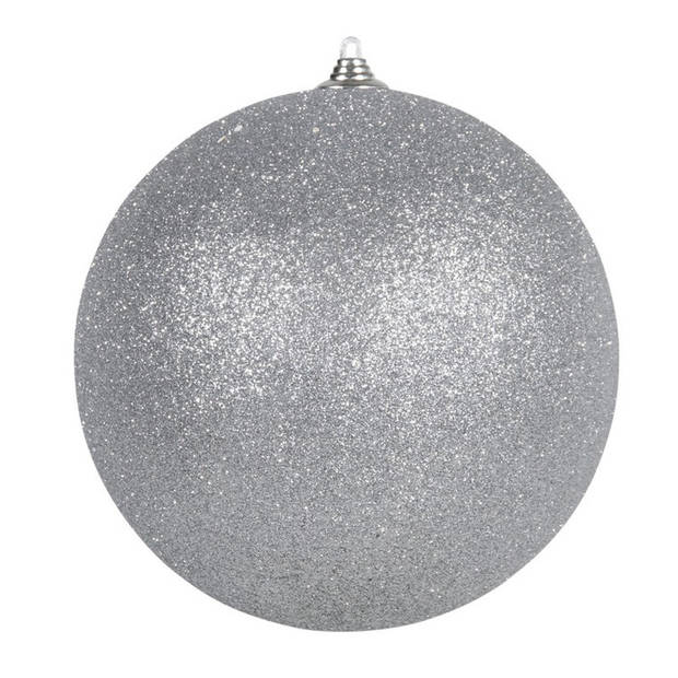 2x Zilveren grote glitter kerstballen 18 cm - hangdecoratie / boomversiering glitter kerstballen